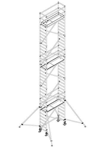 ALTEC Professionele uitrusting AluLight, werkhoogte 4,4 m tot 14 m, breedte 0,7 m, lengte 3,0 m, incl. wielen en steunen, TÜV-getest, Made in Germany, steiger van aluminium, rolsteiger, rijsteiger, bouwsteiger 12,2 m Slim