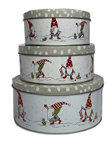 CasaJame 3er Set Metall Keksdose Plätzchendose Weihnachten Wichtel grau weiß Gepunkteter Grauer Deckel Sortiert H6-9cm