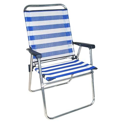 Sedia pieghevole da spiaggia, campeggio o giardino, blu, in alluminio