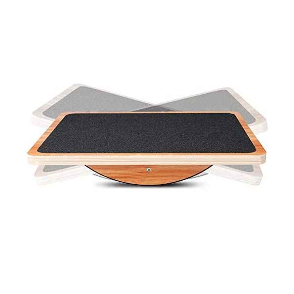 P&BEXC Wooden Balance Board for Balance Training and Keep Healthy Balancing Board for Under Desk, Anti Slip Roller, Core Strength, Stability, Office Wobble Boards