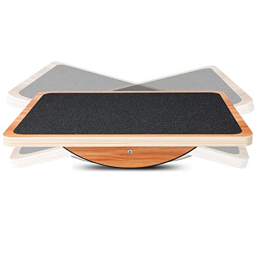 P&BEXC Wooden Balance Board for Balance Training and Keep Healthy Balancing Board for Under Desk, Anti Slip Roller Board, Core Strength, Stability, Office Wobble Boards
