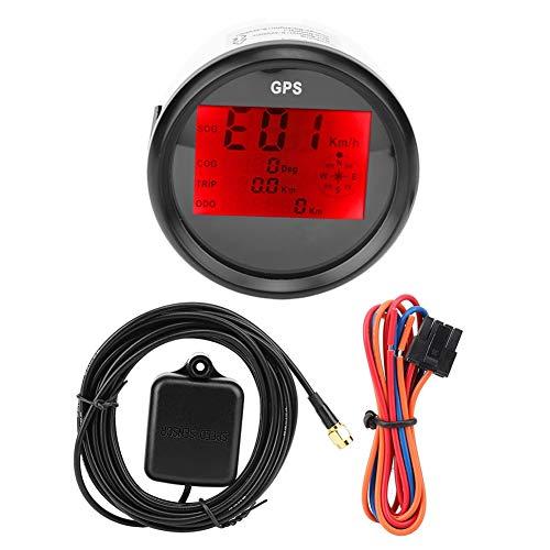 Tachometer, 85 mm wasserdichter digitaler GPS-LCD-Tachometer Kilometerzähler für Schiffsmotorradautos