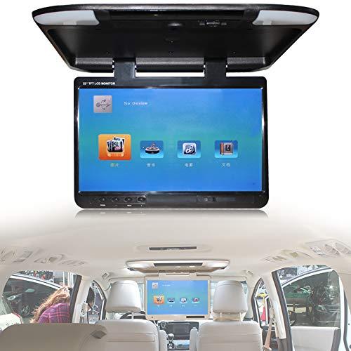 Roboraty Monitor De Techo para Automóvil De 22'Video Digital HD 1080p,Reproductor Abatible para Techo De Automóvil con Luz Led Ángulo De Apertura Máximo De 135 °,Puerto Hdmi USB SD IR FM,Black