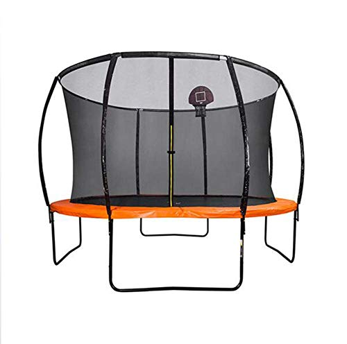 TBTBGXQ 10Ft Kids Trampoline, Outdoor Fitness Trampolines with Basketball Hoop, Ladder, Safety Housing Net, Aerobic Training Bouncers Play Toys for Adults Children