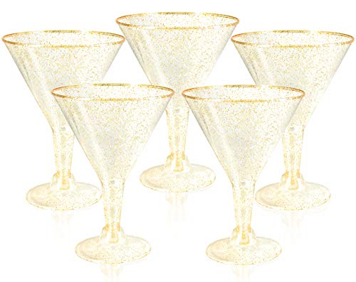 Liacere 24 Pack Gold Glitter Plastic Martini Glasses - 6.25oz Disposable Cocktail Glasses - Plastic Margarita Glasses Perfect for Wedding And Parties