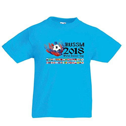 lepni.me Camiseta para Niño/Niña Copa Mundial de Rusia 2018, Las 32 Banderas Nacionales del Equipo de fútbol (7-8 Years Azul Claro Multicolor)
