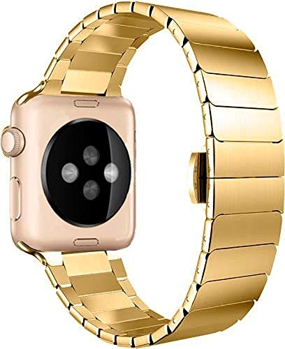 Pulseira Aço Inoxidável Elos Fecho Borboleta Dourado 42mm, Compatível com Apple Watch