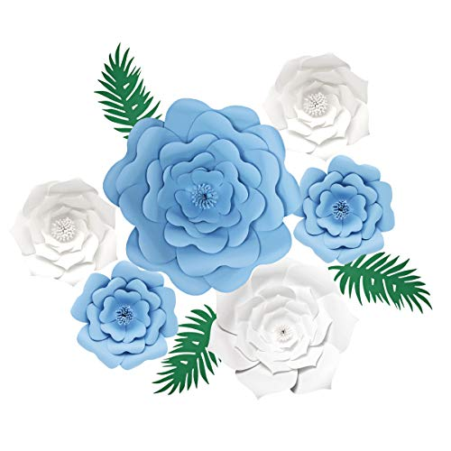 decalmile 6 Pezzi Fiori di Carta DIY Artigianato Fiori Camerette Bambini Ragazza Compleanno Matrimoni Sfondo Decorazione Casa (Blu, Bianca)