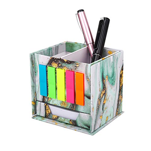 MoKo Pen Pencil Holder with Sticky Notes, Desktop Stationery Organizer with Page Markers Sticky Notes, Collapsible Pen Pencil Case Storage Box for Office Home - Marble Green