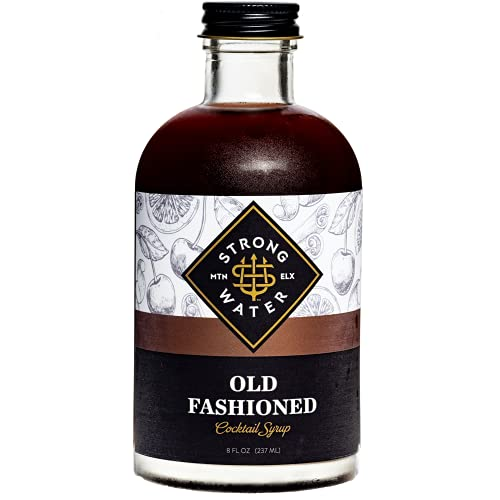 Strongwater Old Fashioned Craft Cocktail Mixer - Makes 32 Cocktails - Handcrafted Old Fashioned Syrup with Bitters, Orange, Cherry & Organic Demerara Sugar - Just Mix with Bourbon or Whiskey