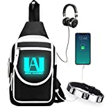 MCdreamUSA My Hero Academia Luminous Sling Backpack with Anime Bracelet, Crossbody Shoulder Chest Backpack Waterproof Travel Bag School Daypack, Black, Small