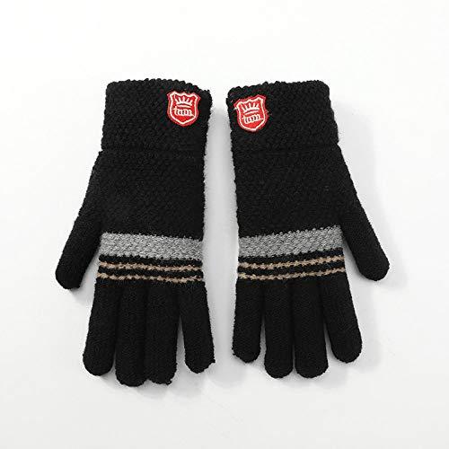 Gestrickte Handschuhe,Kinder Handschuhe Aus Gewirken Studenten Herbst Winter Einfach Warm Frostschutzmittel Plüsch Schwarz Handschuhe Für 6-12 Jahre