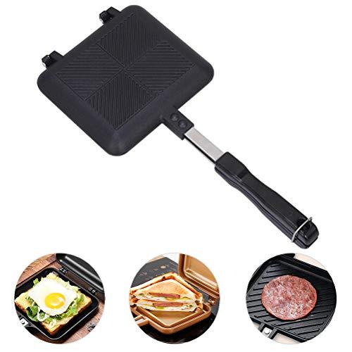ExH Camping Sandwich Toaster Sandwich Maker Sandwichtoaster Doppelseitige Pfanne Aluminiumleg erung Gaskocher Burger Gas mit Griffen Antihaft Grillpfanne ideal für Camping und Angelausflüge, Schwarz