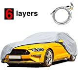 KAKIT 6 Layers Car Cover for Ford Mustang 2015-2020 Custom Fit with Windproof Ribbon & Anti-Theft Lock