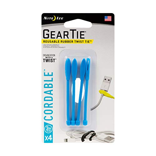 Gear Tie Cordable Twist Tie, Größe 3, 4 STK, blau