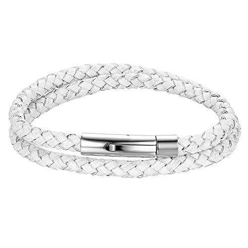 Cupimatch Herren Lederarmband, Leder Kordelkette Geflochten Armband Wickelarmbänder mit Edelstahl Magnetverschluss - zum zweimaligen Umwickeln, Weiß