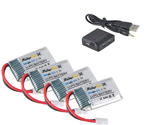 Hootracker 4pcs 3.7v 250mAh 20c Lipo Battery Parts with 1pcs 4 In 1 Battery Charger for Syma X4 X11 X11c and Walkera Mini CP/QR Ladybird UDI U816A U830 RC Quadcopter Drone Parts