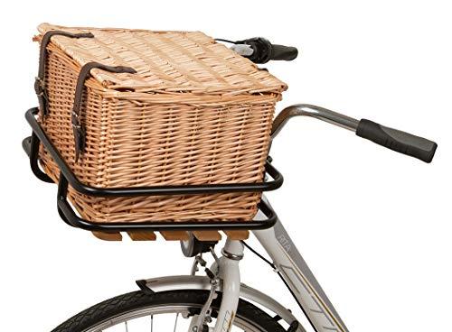 n.a. Weidenkorb Fahrradkorb mit Deckel für vorne inkl. Vorderrad Gepäckträger