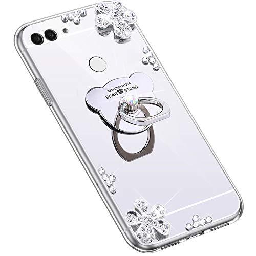 Uposao Kompatibel mit Huawei P Smart 2018 Hülle Glitzer Diamant Glänzend Strass Spiegel Mirror Handyhülle mit Handy Ring Ständer Schutzhülle Transparent TPU Silikon Hülle Tasche,Silber