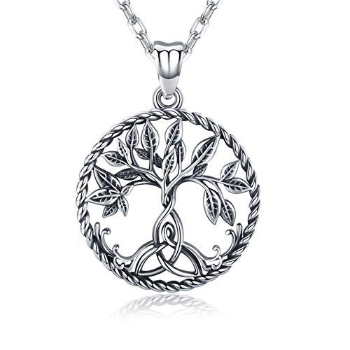 Tree of Life Necklace, Sterling Silver Family Tree Pendant Fine Jewellery Gifts for Women Birthday Gifts for Wife Girlfriend Grandma