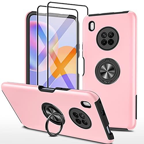 SmaCase Funda Compatible con Huawei Y9A Carcasa +2 Piezas Protector de Pantalla 360 Grados Anillo Giratorio para Soporte - Rose