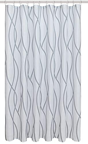 Biscaynebay Duschvorhang aus strukturiertem Stoff, 183 x 183 cm, silbergrau, tanzender Druck, Badezimmervorhänge, maschinenwaschbar
