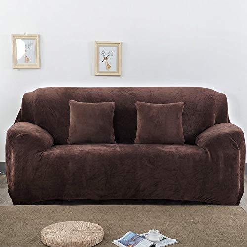 Univsal Fundas de sofá Gruesas de 1/2/3 plazas, Color Puro, Protector de sofá de Terciopelo, Tela elástica de fácil Ajuste, 3 Seats