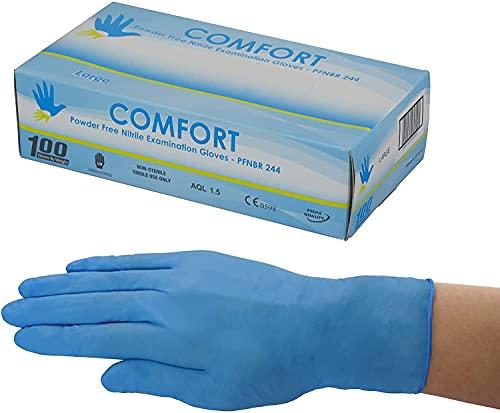 【まとめ買いでお得】アズワン ニトリル手袋 指先エンボス加工 1箱(100枚)~1ケース(10箱) 青 M・Lサイズ パウダーフリー グローブ ピンホール試験 合格品 使い捨て