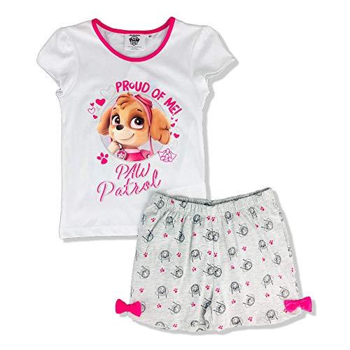 Pijama para niña de la Patrulla Canina, camiseta y pantalón corto de algodón estampado Glitter 2905 Bianco 3 años