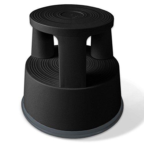 Floordirekt Rollhocker, Tritthocker, Elefantenfuß | Hocker für Buro oder Gewerbe | TÜV + GS geprüft | viele Farben | Kunststoff oder Stahl (Schwarz, Kunststoff)