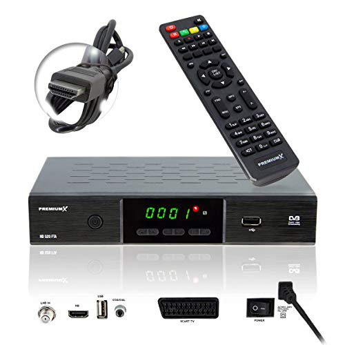 PremiumX HD 520 FTA Digital SAT TV-Receiver DVB-S2 FullHD HDTV Satelliten-Receiver HDMI SCART 2X USB Multimedia-Player, Deutsche Sender Vorprogrammiert