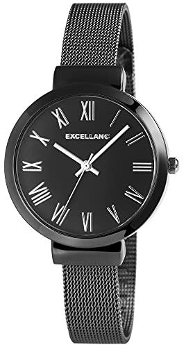 Excellanc Reloj de mujer con correa de melanesa, negro, analógico, metal, cuarzo, números romanos.