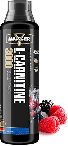 Maxler Veganes L-Carnitine 3000 Liquid - Hochdosiertes L Carnitin in flüssiger Form - reich an Geschmack - optimal dosiert - 3000mg L-Carnitin pro Portion - Blaubeere-Himbeere - 500ml