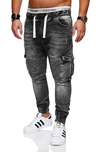 behype. Herren Destroyed Jogg-Jeans Biker Hose 80-2271 Dunkelgrau 32