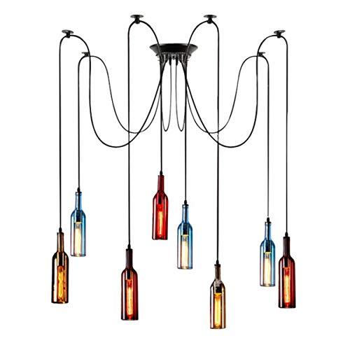 ZRSZ Retro LED Glasflasche Pendelleuchte,mit Bunt Glas Wein-Flasche Lampenschirm Vintage Industriell Esszimmerleuchte Kronleuchter,8-Flammig Pendellampe[Energieklasse A]