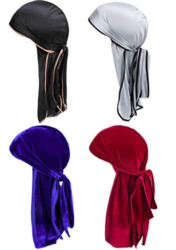 KEREDA Herren Durag, 2 Stück Samt Durag und 2 Stück Silky Soft Durag Cap Headwraps mit extra langem Schwanz und breiten Riemen für Männer Frauen Hip-Hop und Daily Decoration