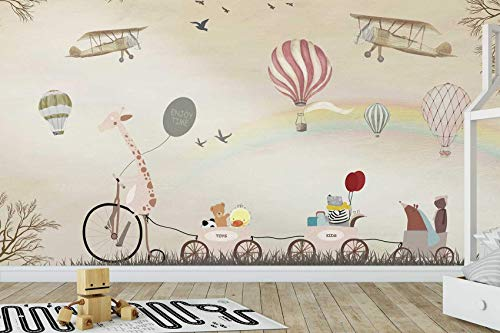 Murwall Kids Wallpaper Vintage Hot Air Balloon Wall Mural Rainbow Wall Print Cartoon Animal Wall Art Nursery Wall Decor