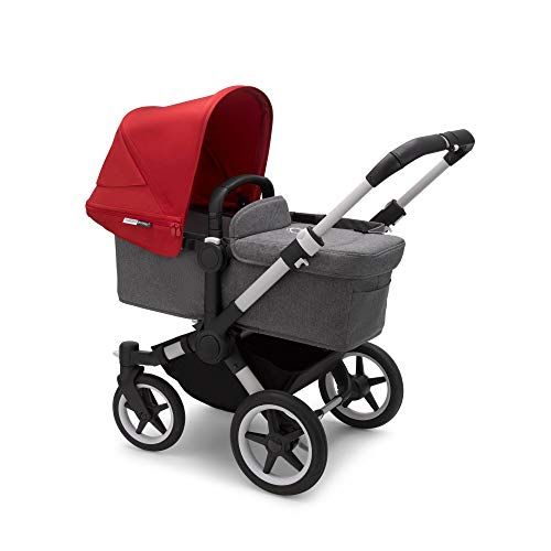 Bugaboo Donkey 3 Mono Grey Melange Seat Red Sun Canopy Convertible to Double Stroller