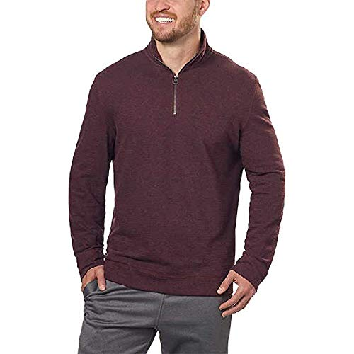 Calvin Klein Men's ¼ Zip Pullover, (Spiced Currant Heather, XL)
