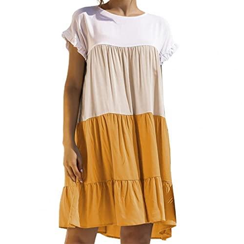 Women Dress Short Sleeve Ruffle Color Block Large Hem Cotton Blend A-Line Dress for Spring/Summer 2021платье