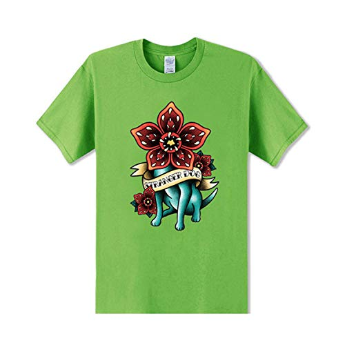 Funny Demogorgon T Shirts Men Tattoo Ink Graphic Printing Tshirt Dustin Tee Stranger Dog T Shirt Flower Stranger Things Teeshirt,Grass Green,S