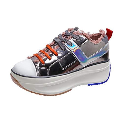 Zapatos de Plataforma de cuña con Cordones de Ocio para Mujer, súper Ligeros, para Uso Diario al Aire Libre, Creepers Gruesos, Zapatillas Simples de Primavera y otoño