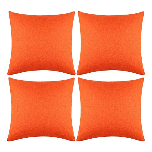 Meltset 4 Pack Outdoor Waterproof Pillow Covers, Square Decorative Garden Patio Balcony Soft Cushion Case, Throw Pillow Shell for Couch Bed Sofa Tent Bedroom Livingroom Office, 50 * 50cm(Orange)