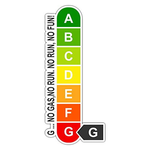 Siviwonder Auto Aufkleber Energieeffizienz gleich Null - No Gas Nor Run Benzin V8 lustig Sticker Boot Bootsaufkleber