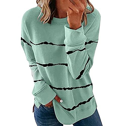 Nuevo 2021 Camiseta Manga Larga de mujer, Moda Raya Impresión otoño Blusa y camisa Cuello redondo basica Camiseta Suelto Tops Casual Camisetas fiesta T-Shirt original Sudadera Suéter Jersey