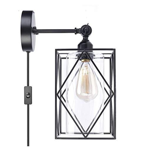 Lámpara de Pared con Enchufe, Industrial Vintage Aplique de Pared 180° Ajustable con Interruptor y Pantalla de Vidrio Edison E27 Portalámparas para Sala de Estar Dormitorio Pasillos Cocina Bar