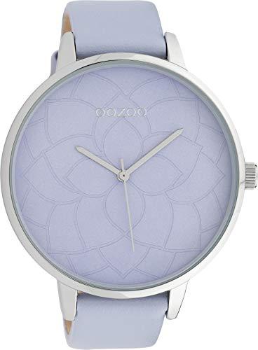 Oozoo Damenuhr mit Blüten Zifferblatt und Lederband 48 MM Flieder/Flieder C10103