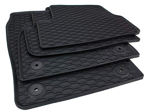 All4You Gummimatten Original Qualität Fußmatten für VW Polo VI Skoda Fabia III Seat Ibiza V Arona 100{2703db5072a06cb30d780619a58485511e1e30dccfff50c3161077fd1ee78640} passgenau Schwarz Gummi 4-teilig fahrzeugspezifisch