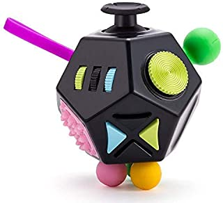 12 Sides Fidget Cube Toys,Relieves Stress and Anxiety for Kids,Teens and Adults with ADD,OCD,ADHD,Autism (Black / B2)