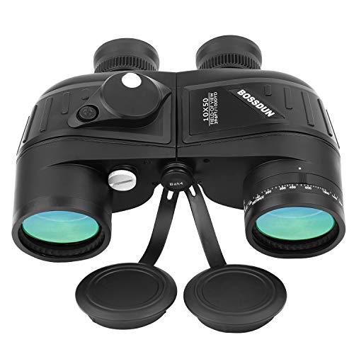 10 x 50 Marine Fernglas für Erwachsene, wasserdichtes Fernglas mit Entfernungsmesser Kompass BAK4 Prisma FMC Objektiv für Navigation, Bootfahren, Angeln, Wassersport, Jagd